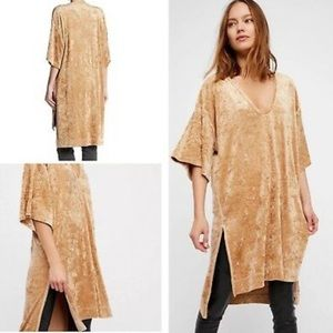 Free people luxe crushed velvet top in champagne
